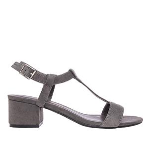 Sandale sa niskom štiklom, antilop sive
