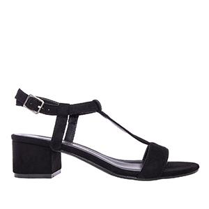 Sandale sa niskom štiklom, antilop crne