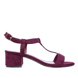 Sandale sa niskom štiklom, antilop bordo