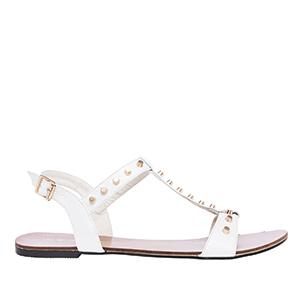 Lakovane sandale sa nitnama, bele