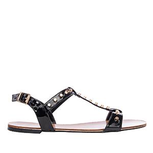 Lakovane sandale sa nitnama, crne