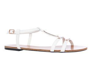 Valkoiset nahkajäljitelmä T-hihna sandaalit