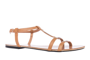Ruskeat nahkajäljitelmä T-hihna sandaalit