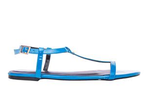 Ravne lakovane sandale, plave
