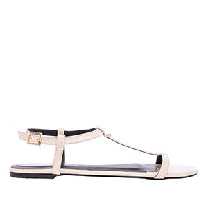 Ravne lakovane sandale, bež