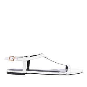 Ravne lakovane sandale, bele