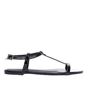Ravne lakovane sandale, crne