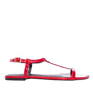Ravne lakovane sandale, crvene