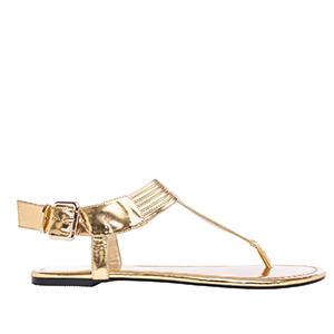Ravne sandale sa neobičnim detaljima, soft zlatne