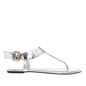 Ravne sandale sa neobičnim detaljima, soft srebrne