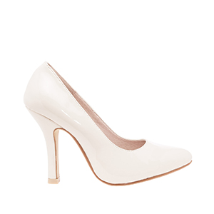 Beige Patent Pumps with fine toe
