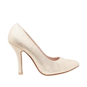 Zapatos Salon en Grabado Oro y punta Fina