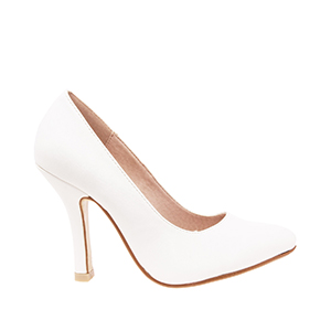 White faux Soft-Leather Pumps with fine toe