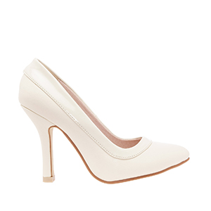 Beige faux Soft-Leather Pumps with Patent border