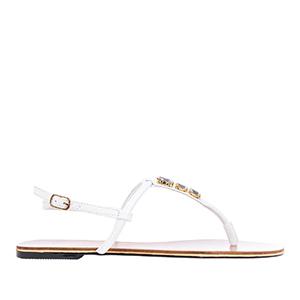 Ravne sandale sa dekorativnim kamenčićima, bele