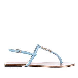 Ravne sandale sa dekorativnim kamenčićima, tirkizne