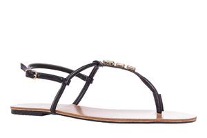 Sandały Soft Czarne i Kamienie