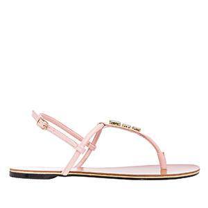 Ravne sandale sa dekorativnim kamenčićima, svetlo roze