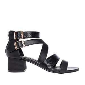 Sandale sa debljom petom, soft crne
