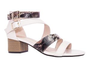 Letní sandále na nízkém širokém podpatku. Růžové v kombinaci s růžovou hadí kůží.