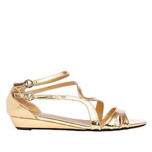 Sandale sa neobičnim kaiševima, soft zlatne