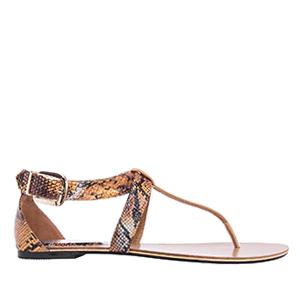 Ravne sandale u rimskom stilu, zmijsko-braon