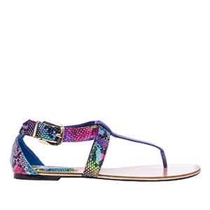 Ravne sandale u rimskom stilu, zmijsko-multikolor