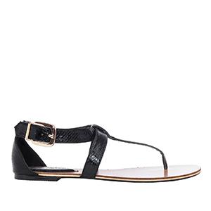 Ravne sandale u rimskom stilu, zmijsko-crne
