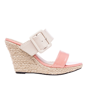 Beige and Pink Patent Wedge Clogs