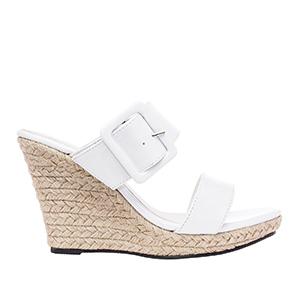Lakovane papuče sa platformom od jute, bele