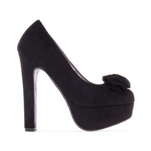 Black faux Suede Platform Pumps