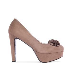Light Brown faux Suede Platform Pumps
