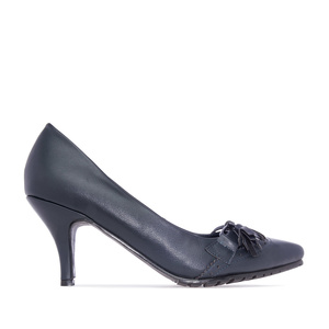 Tassle Pumps in Navy faux Leather