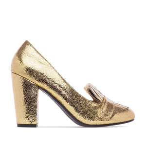 Slipper Pumps in Gold Glitter