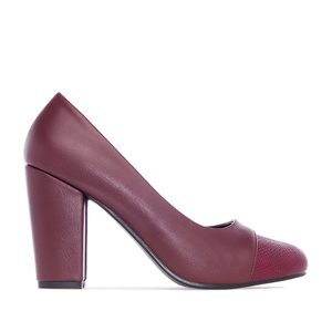 Burgundy faux Leather Pumps