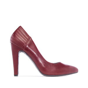 Burgundy faux Leather Pointed Toe Pumps