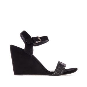 Wedge Sandals in Black Suede