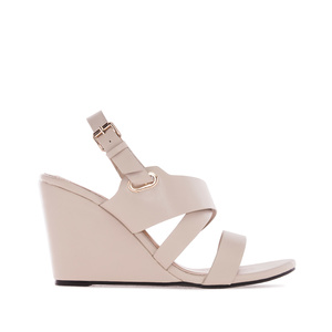 Wedge Sandals in Beige faux Leather