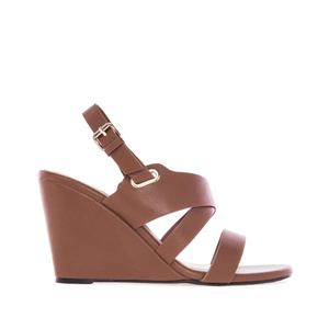 Wedge Sandals in Brown faux Leather