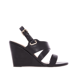 Wedge Sandals in Black faux Leather