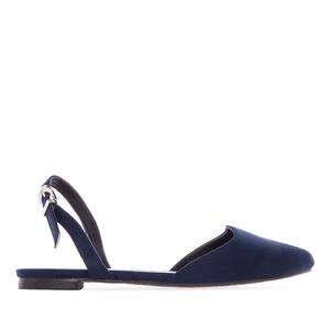 Slingback Ballet Flats in Navy Suede