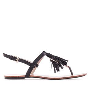 Letní sandále, tenké pásky a střapec na nártu. Černé.