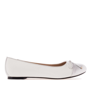 White & Silver faux Leather Ballet Flats