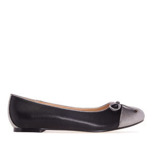 Black & Silver faux Leather Ballet Flats