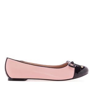 Rose & Black faux Leather Ballet Flats