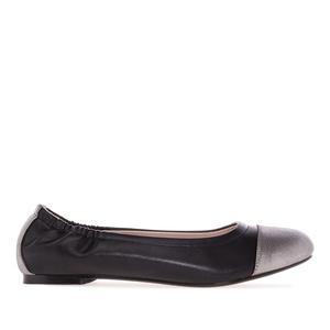 Dvoubarevné baleríny elastické. Černá, stříbrná.