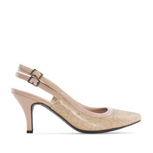 Slingback Shoes in Beige Snake print