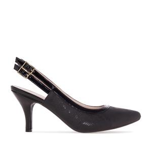 Slingback Shoes in Black Snake print