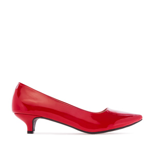 Low Heeled Shoes in Red Patent