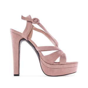 Letní obuv na extravysokém podpatku. Celosemišová. Starorůžová.